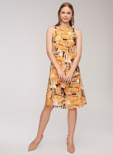 People By Fabrika Desenli Elbise Hardal